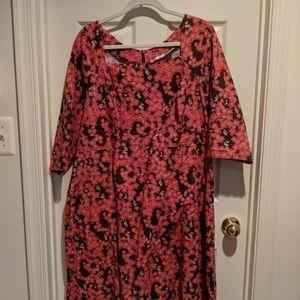 Cherry Velvet Plus Dina Dress in cherry blossoms